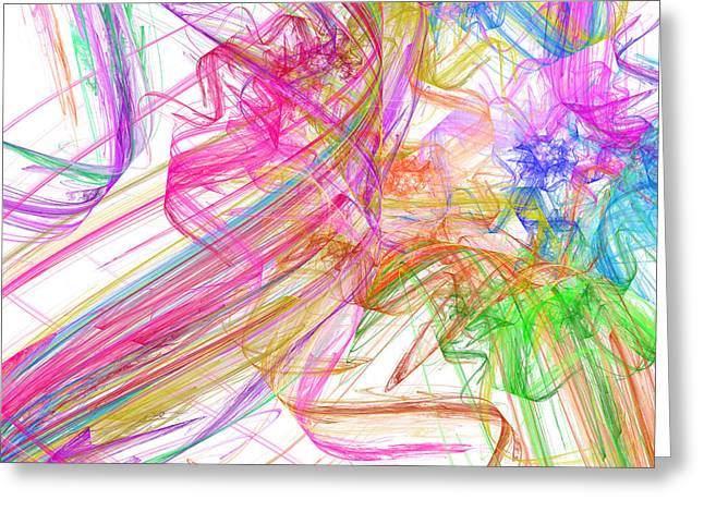 Ribbons And Curls White - Abstract - Fractal Greeting Card