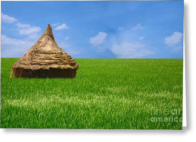 Rice Farming Greeting Card by Boon Mee