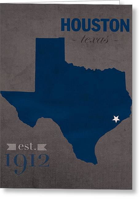 Rice University Owls Houston Texas College Town State Map Poster Series No 091 Greeting Card