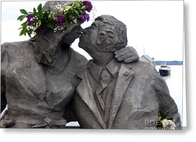Richard Beyer Kissing Couple Statue Olympia Wa Greeting Card by Ellen Miffitt