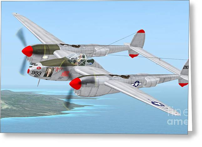 Richard Bong's P-38 Lightning Marge Greeting Card by Walter Colvin