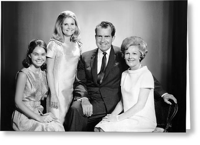 Richard Nixon And Family Greeting Card by Underwood Archives