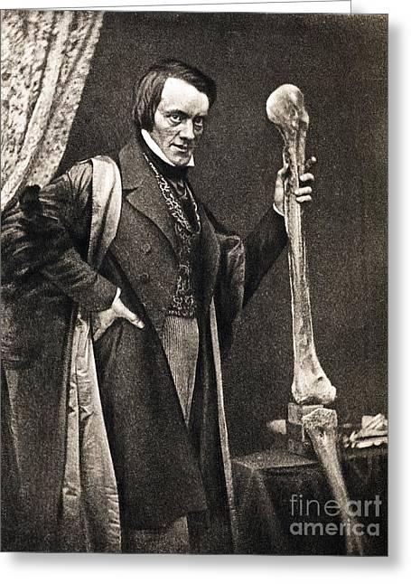 Richard Owen And Moa Leg Fossil Greeting Card by Paul D. Stewart