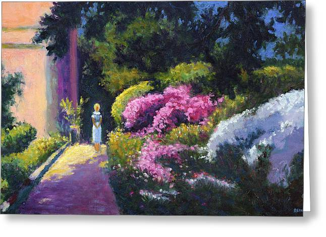 Richards Dar House Garden Light Greeting Card by Vernon Reinike