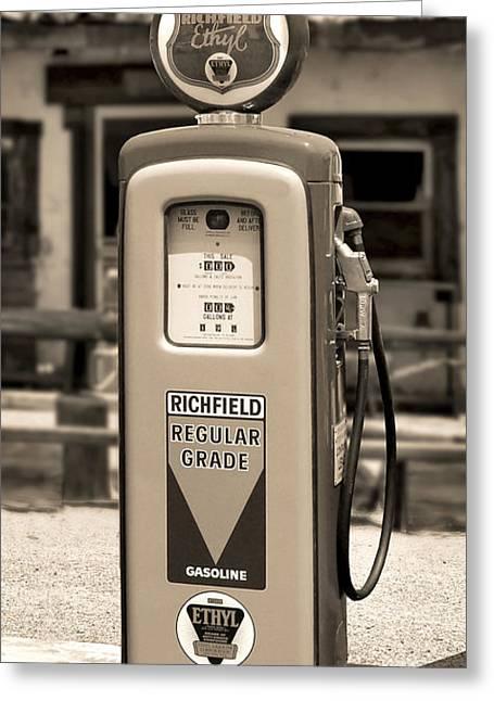 Richfield Ethyl - Gas Pump - Sepia Greeting Card