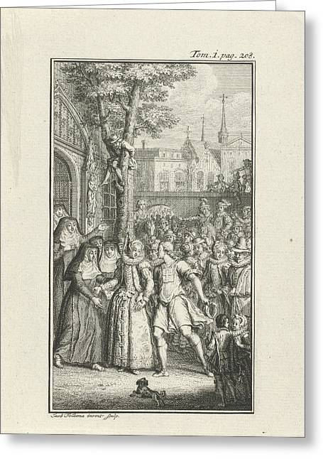 Richly Dressed Woman Surrounded By A Crowd Of Curious People Greeting Card by Jacob Folkema