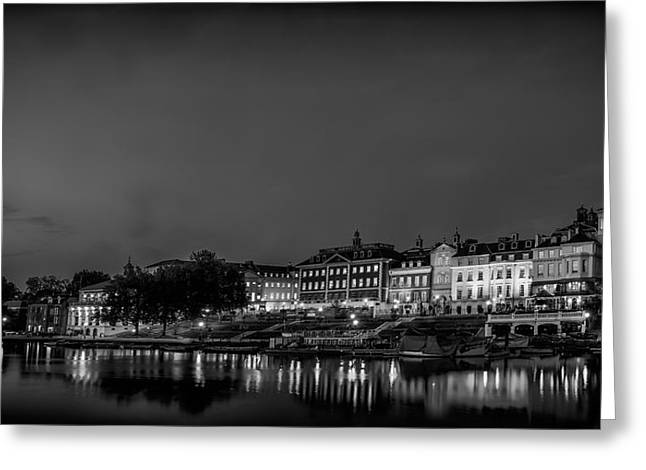 Richmond Landscape Bw Greeting Card by Leigh Cousins