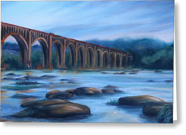 Richmond Train Trestle Greeting Card by Donna Tuten
