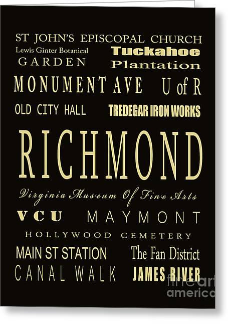 Richmond Virginia Subway Bus Tram Scroll Art - Greeting Card