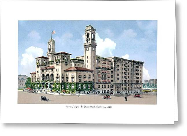 Richmond Virginia - The Jefferson Hotel - Franklin Street - 1910 Greeting Card