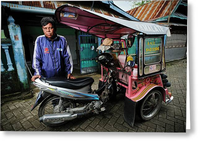Rickshaw Driver With Leprosy Greeting Card