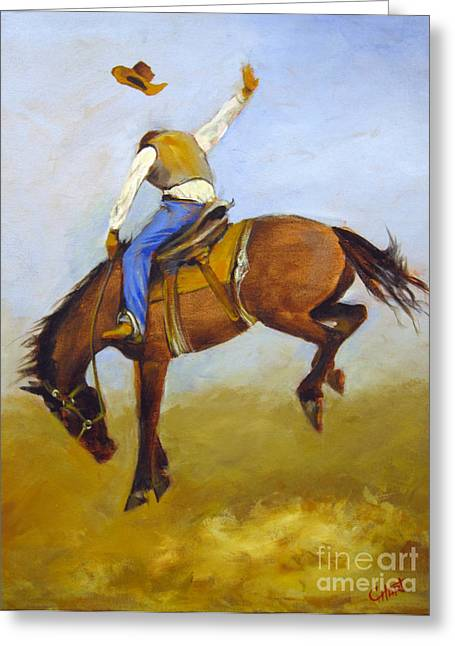 Greeting Card featuring the painting Ride 'em Cowboy by Carol Hart