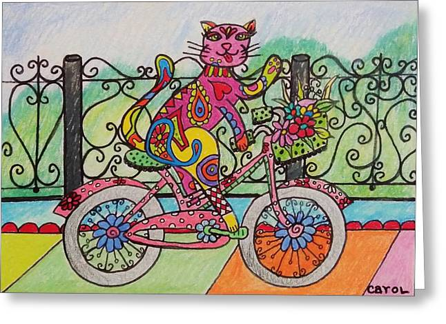 Ride Kitty Ride Greeting Card by Carol Hamby