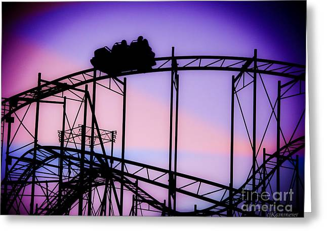 Ride The Wild Cat - Roller Coaster Greeting Card by Colleen Kammerer
