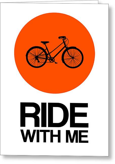 Ride With Me Circle Poster 1 Greeting Card by Naxart Studio