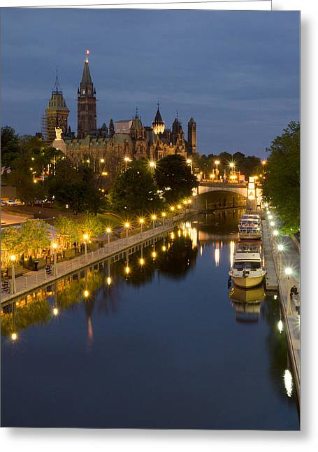 Rideau Canal And The Parliament Buildings At Night Greeting Card