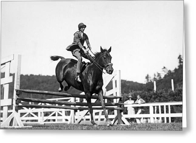 Rider Jumps At Horse Show Greeting Card by Underwood Archives