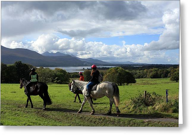 Riders In The Park Greeting Card by Aidan Moran