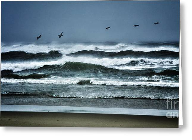 Riders On The Storm 1 - Outer Banks Greeting Card by Dan Carmichael