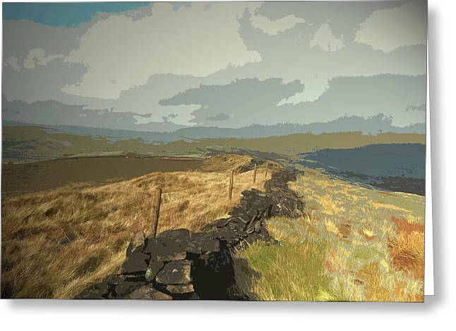 Ridge Between Cats Tor And Pym Chair, A Broken Dry Stone Greeting Card