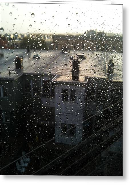Ridgewood Houses Wet With Rain Greeting Card by Mieczyslaw Rudek Mietko