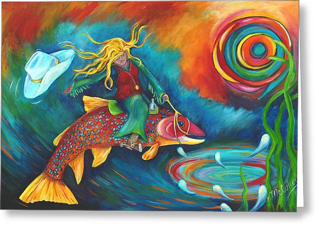 Ridin' A Rainbow Greeting Card by Debbie McCulley