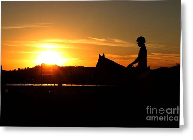 Riding At Sunset Greeting Card