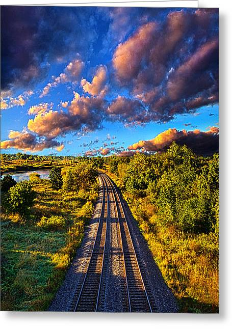 Riding Into Fall Greeting Card by Phil Koch