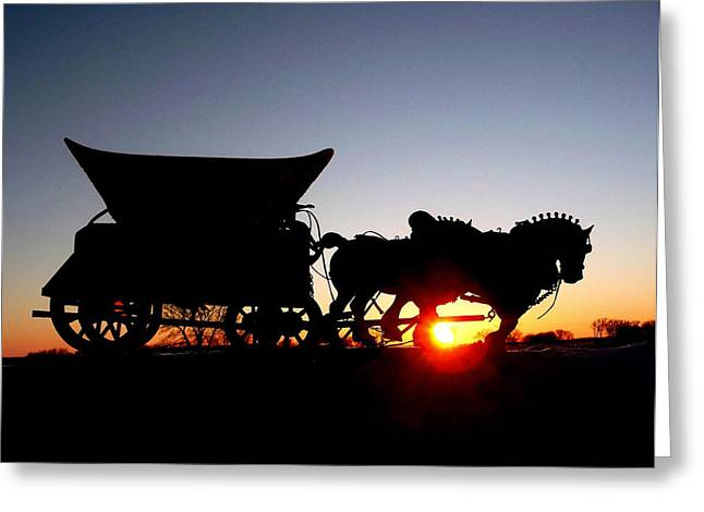 Greeting Card featuring the photograph Riding Into The Sunset by Larry Trupp