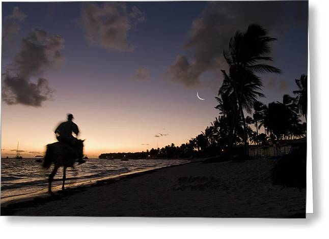 Riding On The Beach Greeting Card by Adam Romanowicz