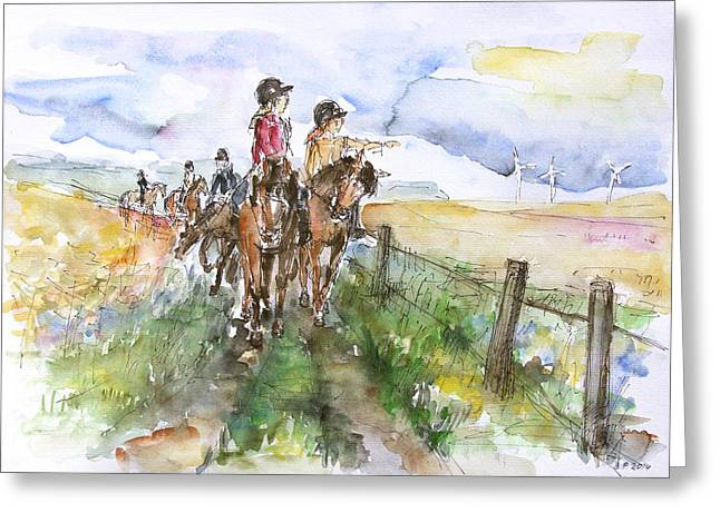 Riding Out Greeting Card by Barbara Pommerenke