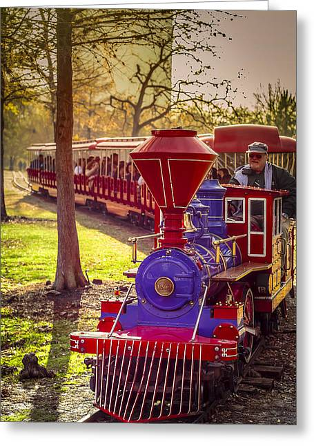 Riding Out Of The Sunset On The Hermann Park Train Greeting Card