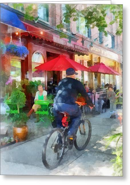 Riding Past The Cafe Greeting Card by Susan Savad