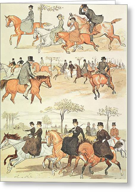 Riding Side-saddle Greeting Card by Randolph Caldecott