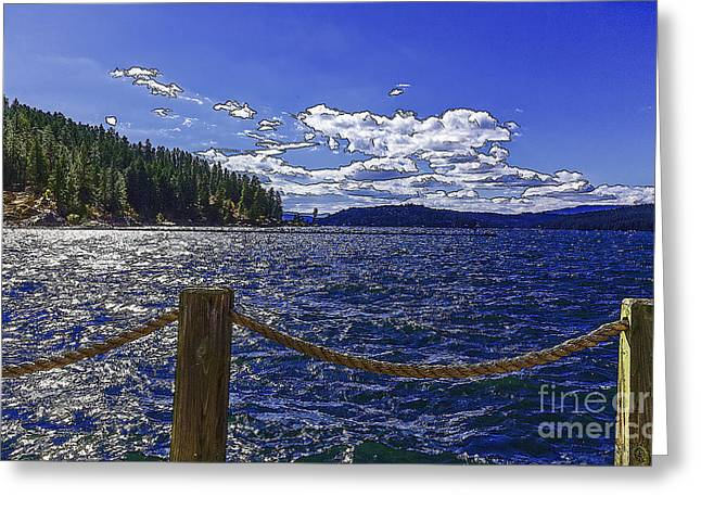 Riding The Floating Dock-2 Greeting Card by Nancy Marie Ricketts