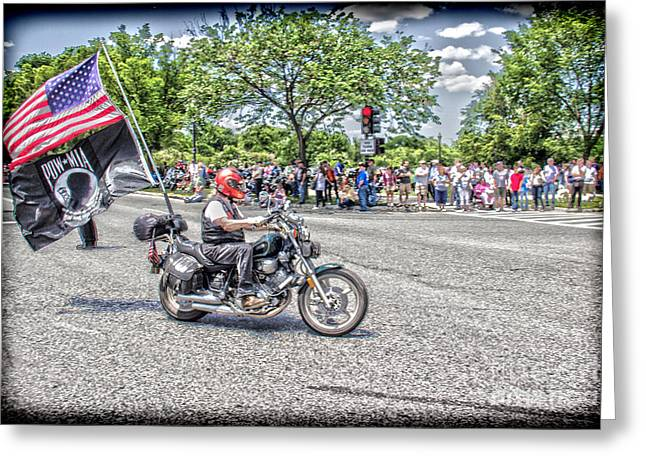 Riding To Support Our Troops Greeting Card