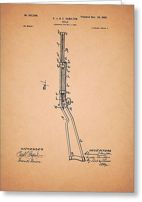 Rifle Patent 1900 Greeting Card by Mountain Dreams