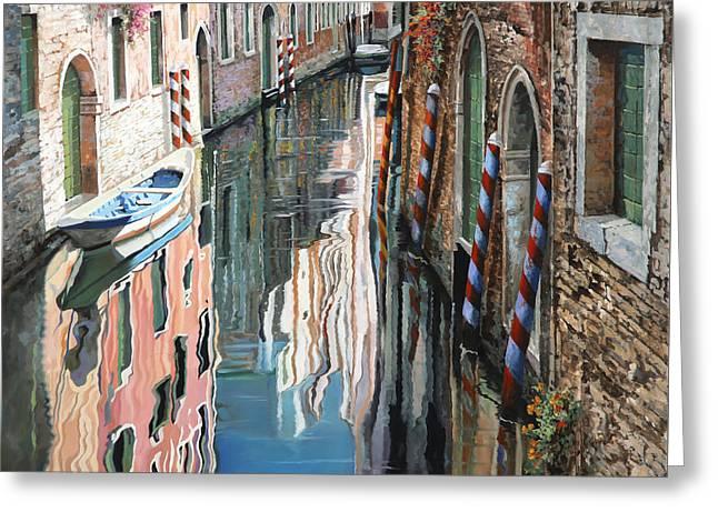 Riflessi Colorati A Venezia Greeting Card by Guido Borelli