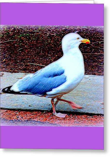 Right By Your Side Walks This Proud Little Fellow  Greeting Card by Hilde Widerberg