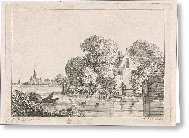 Right For A House, A Man Sits On A Pier Angling And A Woman Greeting Card