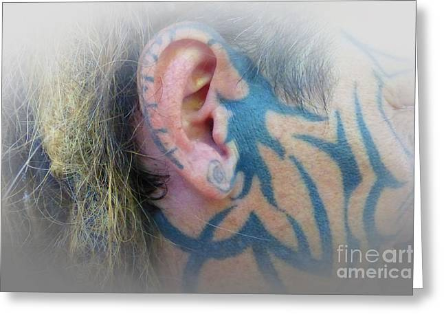 Right Side Face Tattoo Greeting Card