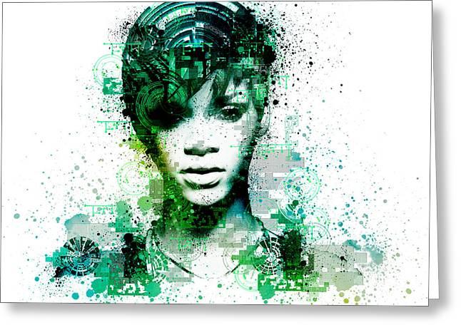 Rihanna 5 Greeting Card by Bekim Art