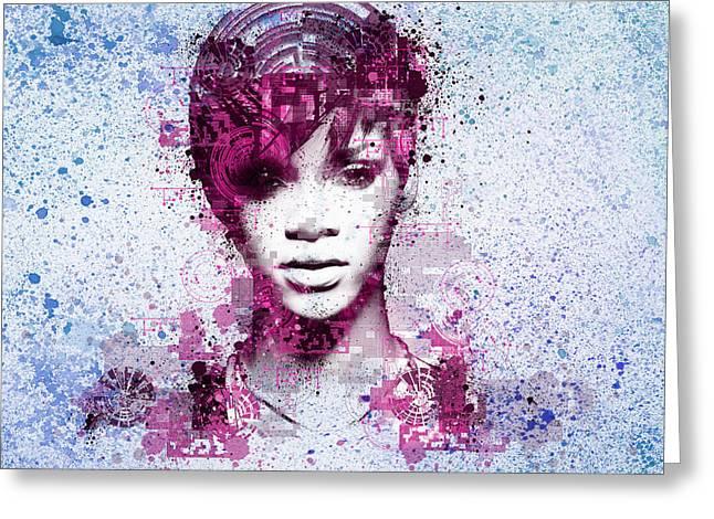 Rihanna 8 Greeting Card by Bekim Art
