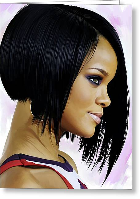 Rihanna Artwork Greeting Card by Sheraz A