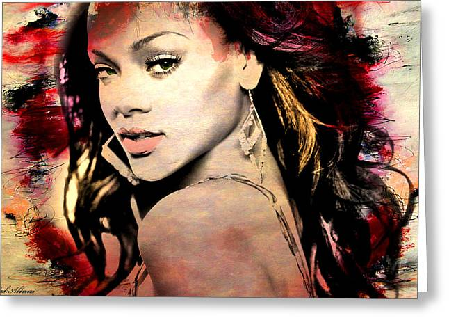 Rihanna Greeting Card by Mark Ashkenazi