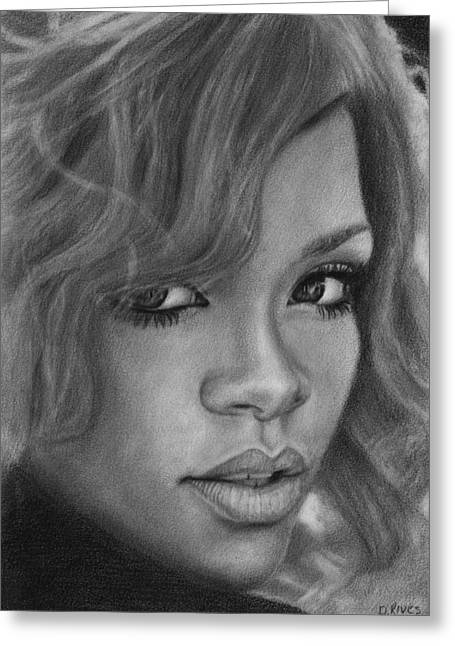 Rihanna Pencil Drawing Greeting Card
