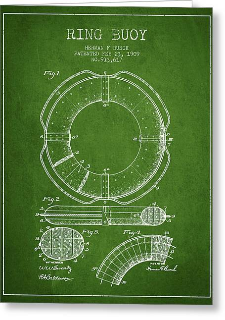 Ring Buoy Patent From 1909 - Green Greeting Card by Aged Pixel