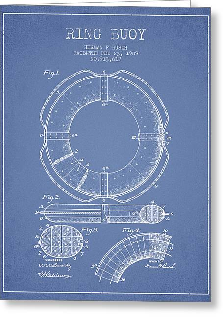Ring Buoy Patent From 1909 - Light Blue Greeting Card by Aged Pixel