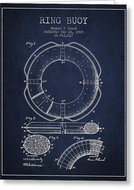 Ring Buoy Patent From 1909 - Navy Blue Greeting Card