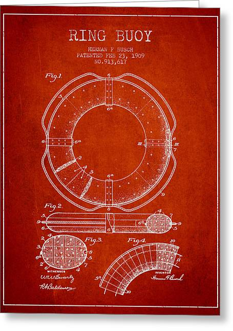 Ring Buoy Patent From 1909 - Red Greeting Card by Aged Pixel